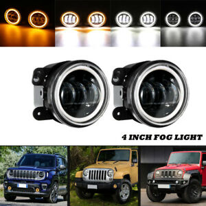 Pair 4 Dot Led Fog Lights Dual Colors Angel Eye For Jeep Wrangler Compass