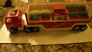 VINTAGE 1980s  BUDDY L  COCA COLA 2-PC DELIVERY TRUCK WITH COKE COOLER & 6 CASES