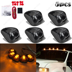 5x Smoke Lens Amber Led Roof Running Lights Cab Marker For Ford 99 16 F250 f550
