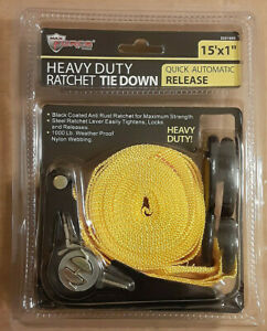 Heavy Duty Ratchet Tie Down 1000lb 15 By 1 With Quick Release Steel S Hooks