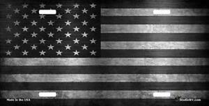 American Flag Gray And Black Personalized License Plate
