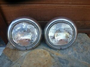1942 1947 Ford Truck Headlight Assemblies Original Pair Buckets Rings Pickup