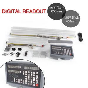 New 2axis Digital Readout Dro Display Kit Linear Scale Milling Lathe 400mm 850m