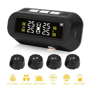 Car Truck Wireless Solar Tpms Lcd Tire Pressure Monitor System 4 External Sensor