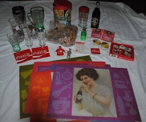 MIXED LOT OF COCA-COLA ITEMS PLACEMATS, GLASSES, PUZZLE, SUGAR SHAKER