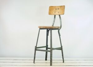 Vintage Industrial Stool Pollard Stool Mid Century Lab Stool Metal Shop Stool