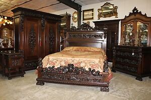 Antique Carved Italian Walnut 1800 S Five Piece Queen Bed Bedroom Suite