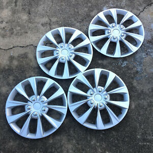 Full 4 Pc Set Hub Cap Abs Silver 16 Inch Rim Wheel Skin Cover Caps Covers
