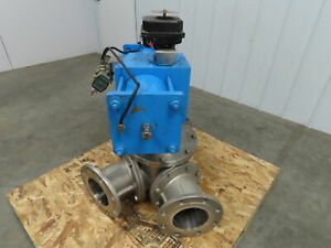 6 Flanged 3 way Ball Valve 304 Stainless With Pneumatic Actuator