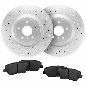 For 2013 2014 Ford Mustang Front Drill Slot Brake Rotors Ceramic Pads