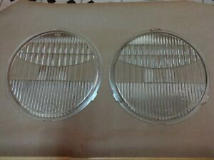 1930 31 Ford Script Model A Headlight Glass Lenses And Ss Trim Rings Pair