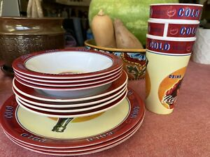 Vintage Coca-Cola Gibson Dinnerware Table Set Plates  Bowls  and Cups Mixed Lot