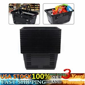 12 Qty New Black Plastic Shopping Basket Market Grocery Retail Store Supplies