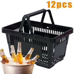 New 12pack Plastic Shopping Totes Grocery Convenience Retail Store Black Baskets