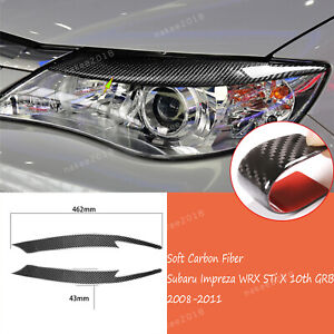 2soft Carbon Fiber Headlight Eyebrow Trim For Subaru Impreza Wrx 10th 2008 2011