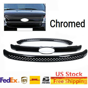 Upper lower Grille Front Grill Cover For Ford Explorer 2011 2012 2013 2014 2015