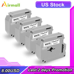 4pk M k231 Mk231 Replace Brother P touch M Tape M231 Black On White 12mm Pt 70