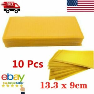 10pcs Yellow Beekeeping Honeycomb Wax Frames Foundation Honey Hive Equipment Set