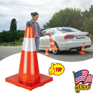 Oshion Traffic Cones 18 Orange Slim Fluorescent Reflective Road Safety Parking