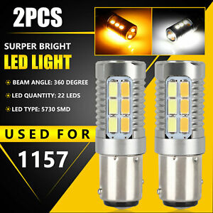 2x 1157 Dual Color 5730 Smd Led Turn Signal Amber White Switchback Light Bulbs
