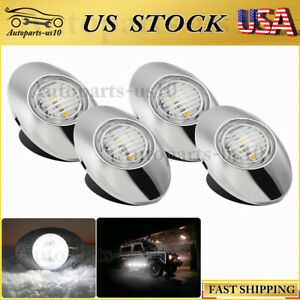 4x Oval White Marker Led Light 12v Auto Truck Trailer Dome Lamp Clearence Lights