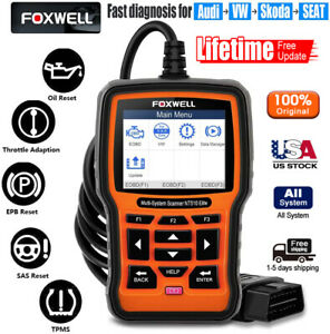 For Vw Audi Diagnostic Scanner Tool Srs Abs Reader Code Scan Foxwell Nt510 Elite