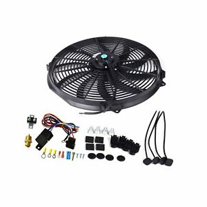 16 Black Electric Radiator Cooling Fan 3 8 Probe Ground Thermostat Switch Kit
