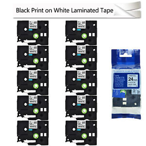 10pk Black On White Label Tape For Brother Tz Tze 251 Tze 251 P touch 24mm 1