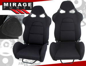 1 Pair new Drag Track Style Jdm Fully Reclainable Black Cloth Racing Seats