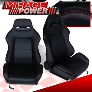 Reclinable Jdm Wide Shoulder Black Cloth Fabric Bucket Racing Seats With Slider
