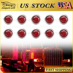 10x 3 4 Red Led Marker Lights Upgrade For Trailer Truck Auto Clearence Light