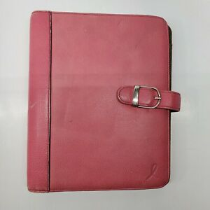 Day timer Pink Breast Cancer Ribbon Planner 7 Ring Leather
