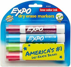 Expo Low odor Dry erase Marker Broad Chisel Tip 4 count Assorted Colors