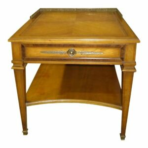 Vintage Weiman Mid Century Inlaid Side Table W Drawer Brass Gallery