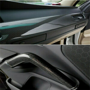 Carbon Fiber Vinyl Wrap Film Interior Control Panel Decals Car Parts Stickers