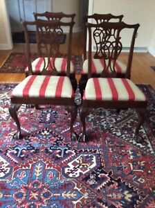 4 Antique Chippendale Hand Carved Mahogany Dining Room Chairs Striped Upholstery