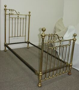Extremely Rare Antique Pr Of Victorian Brass Twin 3 4 Beds That Make Into A King