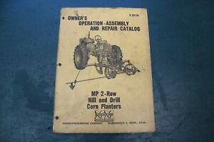 Minneapolis Moline Mp 2 Row Hill And Drill Corn Planter Owner s Operators Manual