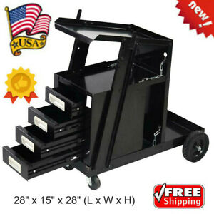 Welding Welder Cart Mig Tig Arc Plasma Cutter Tank Storage With 4 Drawers Us