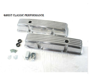 Small Block Chevy 350 383 Tall Finned Aluminum Valve Covers Polished Sharp