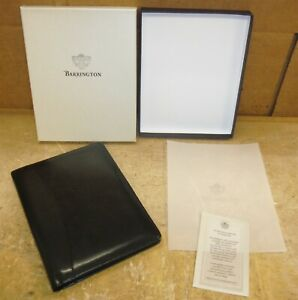 Barrington Black Leather Padfolio Portfolio Plaid Liner Mckesson 9 X 6 5 Rw10