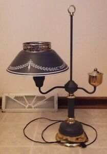 Vintage Metal Tin Toleware Table Desk Lamp Dark Gray W White Accents
