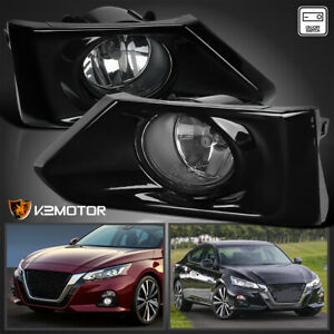 For 2019 2020 Nissan Altima Clear Bumper Fog Lights Pair Lamps switch bezels