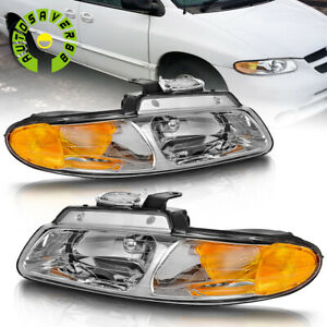 For 1996 2000 Dodge Caravan Chrysler Town Country Voyager Headlights Lamps Set