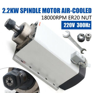 Us2 2kw Er20 Air Cooled 220v Square Spindle Motor 18000rpm Cnc Router Engraving