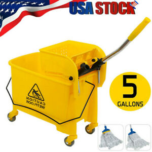 20l Commercial Mop Bucket W Side Press Wringer Combo Rolling Cleaning Cart
