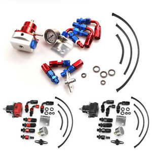Universal Black Red Adjustable Fuel Pressure Regulator Kit 7 Hose Fitting End
