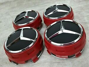 4pcs For Mercedes Benz Wheel Raised Center Cap Black Red Hubcaps 75mm 2 95inch