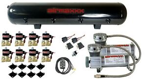 Air Ride Air Compressors 400 Pewter Airmaxxx 1 2 npt Valves Black 7 Switch Tank