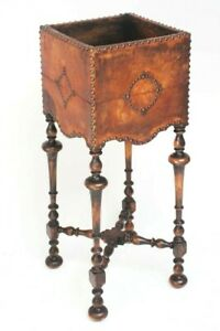 Antique Cromwellian Leather and Beech Jardiniere Stand 6377